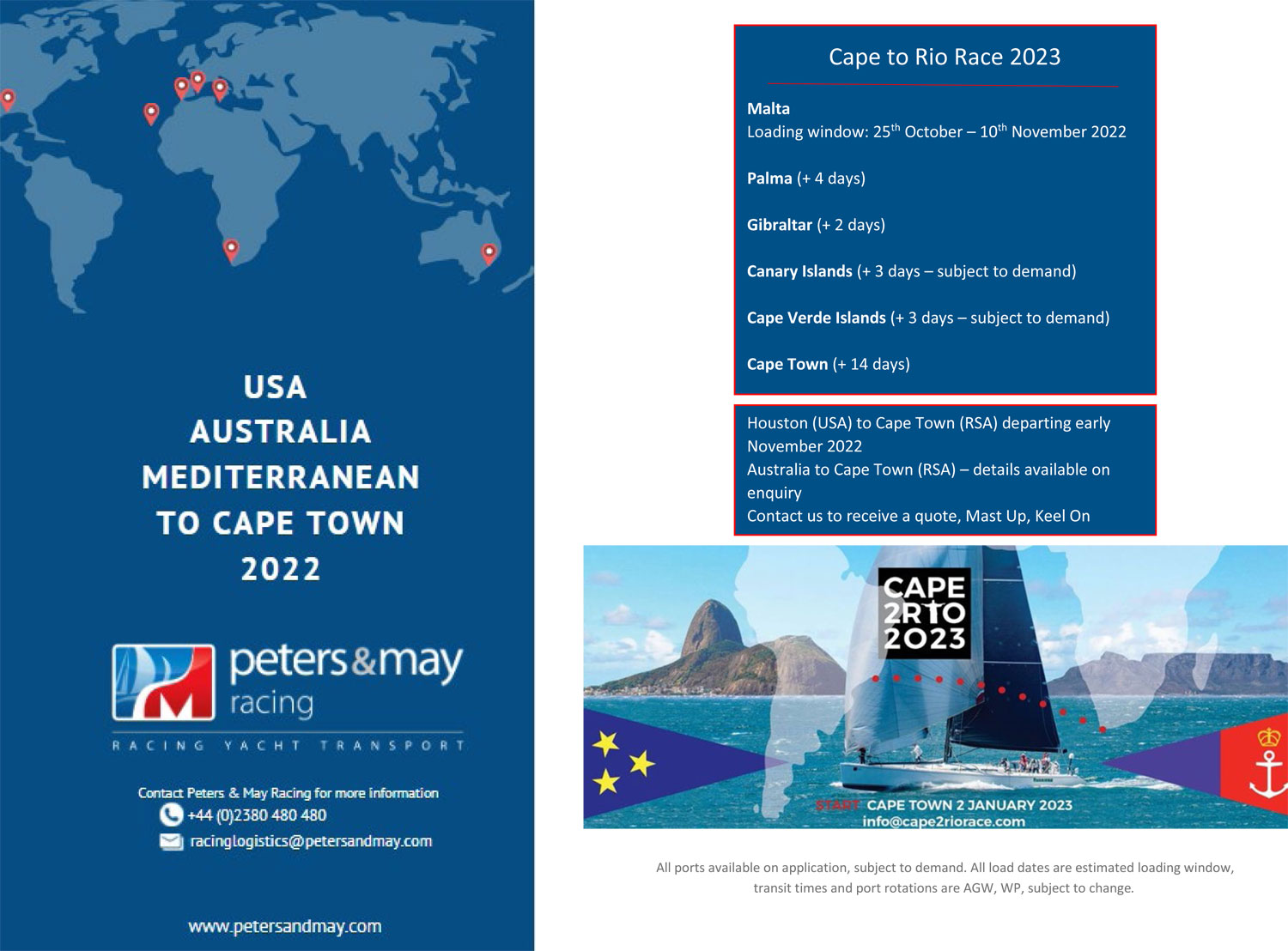 Cape 2Rio Race 2023 – Shipment ex USA 2022 from Galverston Bay